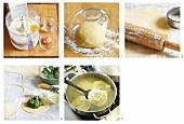 Spinach ravioli being made