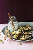Gratinated mussels with a lemon and miso mayonnaise and a Panko crust
