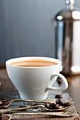Café au lait in a white cup
