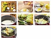 Gefüllte Zucchiniblüten mit Zitronensauce zubereiten
