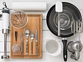 Kitchen utensils for making Hollerkücherl (deep-fried elderflowers)