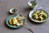 Polenta with cheese and pears next to gnocchi with ricotta and blue cheese