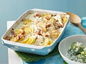 Potato and kohlrabi bake with cooked ham