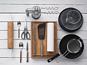 Various kitchen utensils for making a tart