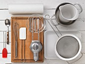 Various kitchen utensils for making bakes
