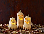 Pumpkin ghosts as Halloween decoration