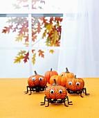 Kürbis-Spinnen als Halloweendeko