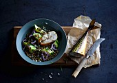 Smoked mackerel on oven-baked lentils