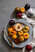 Stone fruit on a plate