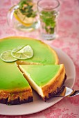 Cheesecake with white chocolate and a green lime and basil jelly