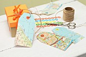 DIY gift tags made from old maps