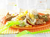 Glass noodle salad with turkey fillet and nectarines