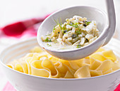 Fennel sauce with capers and sardines served with pasta