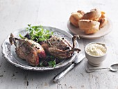 Grouse with bread sauce and Yorkshire puddings