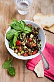 Lentil salad with peppers, courgettes and aubergines