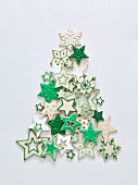 Green and white Christmas star biscuits