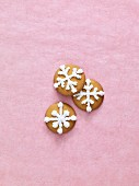 Christmas biscuits decorated with snowflakes