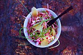 White cabbage and beetroot salad with grapefruit
