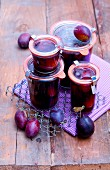 Jars of damson compote