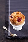 A raspberry financier with coconut