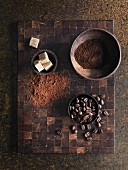 Coffee beans, ground coffee and sugar cubes