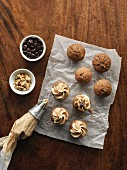 Mini coffee, walnut and banana cakes