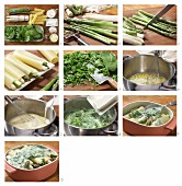 How to prepare asparagus cannelloni covered in cheesy spinach sauce
