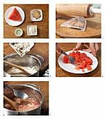 Wassermelonen-Keks-Brei mit Haferflocken zubereiten