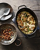 Chicken ragout with mushrooms and parsley