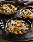 Soba buckwheat noodle soup with taro and carrots