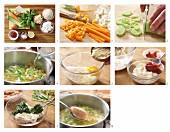 Gemüsesuppe mit zweierlei Griessnockerln zubereiten