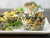 Chard and ricotta muffins with pine nuts