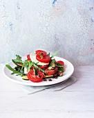 Tomato salad with courgette, mozzarella and rocket