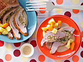Stuffed breast of veal with root vegetables