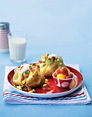 Baked potatoes with salsa and yoghurt