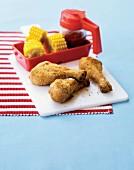 Chicken drumsticks with sweetcorn