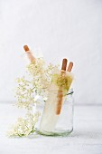 Home-made elderflower ice lollies
