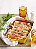 Spinat-Ricotta-Cannelloni in der Backform