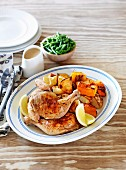 Roasted Chicken with pumpkin and potatoes
