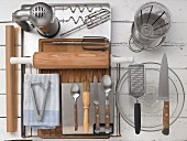 Kitchen utensils for making cherry cake