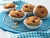 Orange muffins with cherries