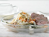 Seared duck breast with a papaya and celeriac salad