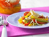 Colourful pickled peppers with onions