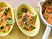 Shrimp and courgette risotto