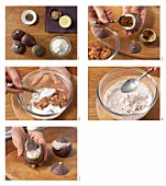 Stuffed figs with hazelnut quark being made