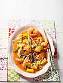 Sweet and sour prawns with pineapple and peppers (China)