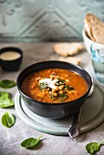 Lentil soup with tomatoes and spinach