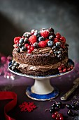 A chocolate cake with berries