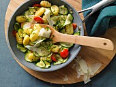 Gnocchi with courgette, cherry tomatoes and Parmesan