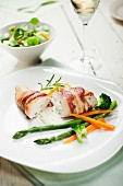 Chicken breast wrapped in bacon filled with mascarpone